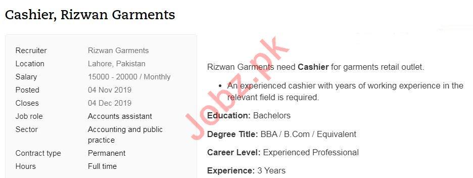 Rizwan Garments Job For Cashier in Lahore