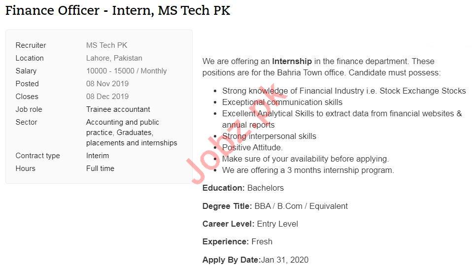 MS Tech Solutions Job For Finance Officer Intern