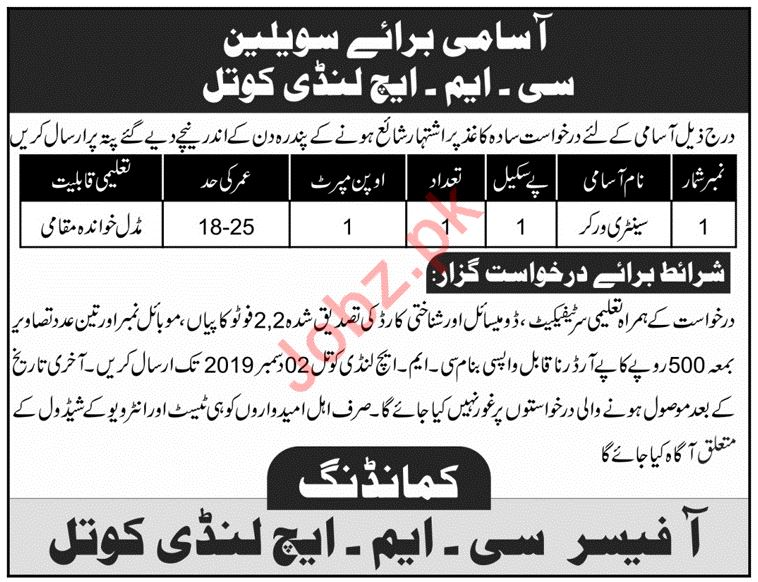 Combined Military Hospital CMH Job For Sanitary Worker