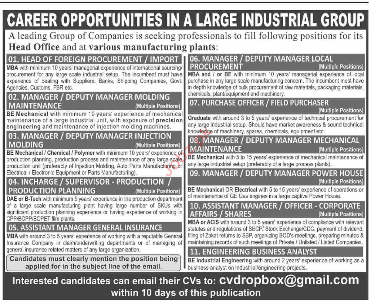 Group of Companies Jobs in Karachi