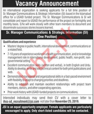 Senior Manager Communications & Strategic Information Jobs