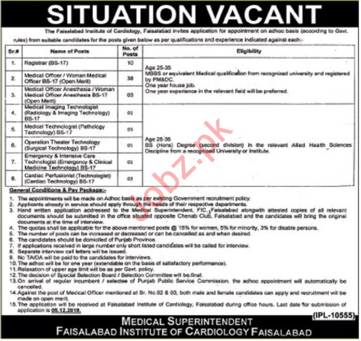 Faisalabad Institute of Cardiology Jobs For Medical Staff