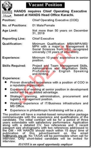 Hands NGO Job For Chief Operating Executive COE