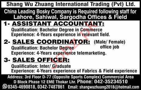 Shang Wu Zhuang International Trading Pvt Ltd Jobs