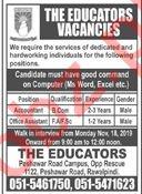 The Educators Peshawar Road Rawalpindi Jobs 2019