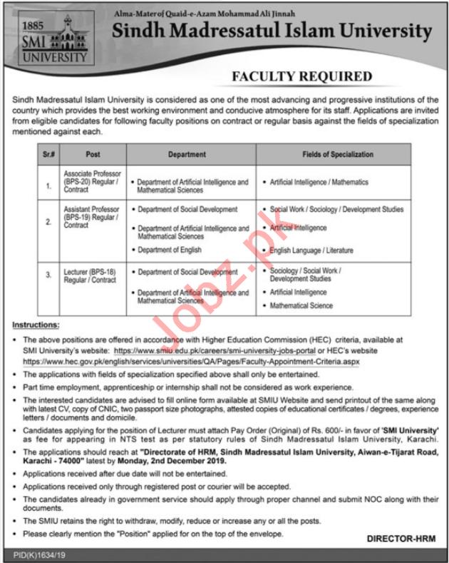 Sindh Madressatul Islam University SMIU Jobs 2019