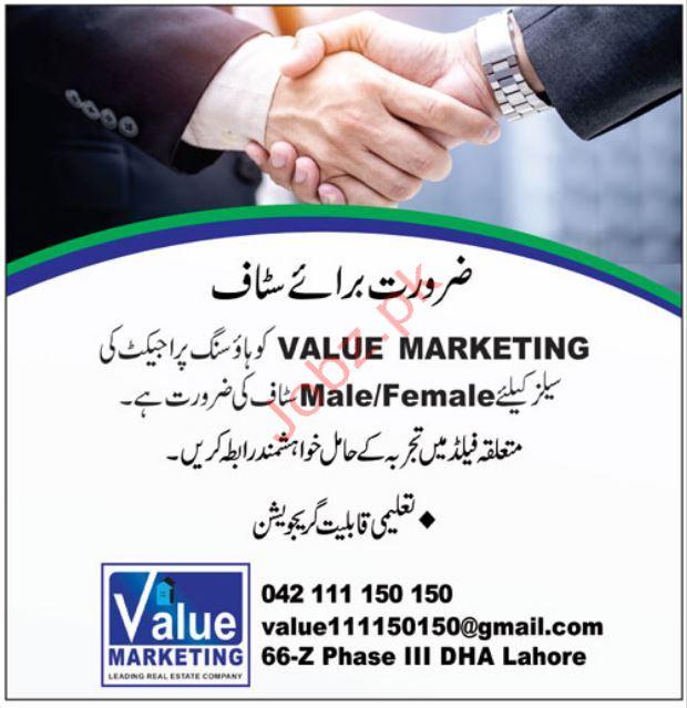Value Marketing Company Jobs in Lahore