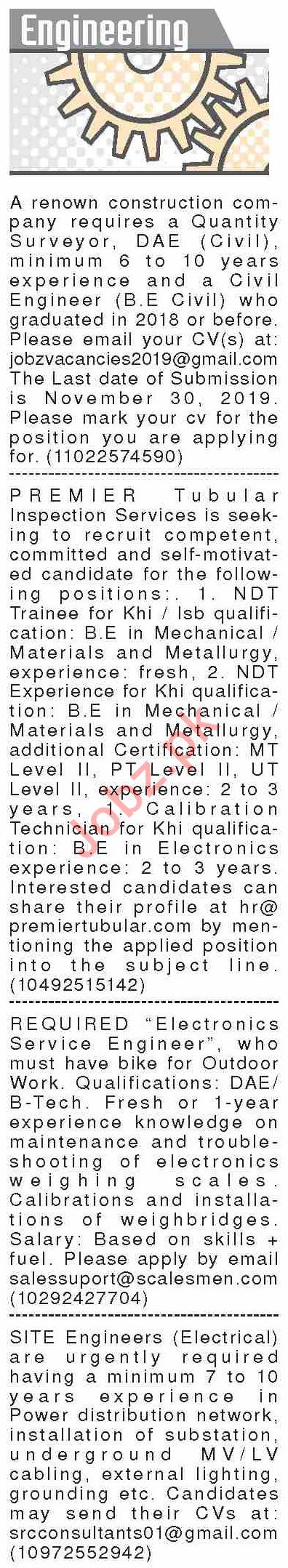 Dawn Sunday Classified Ads 17th Nov 2019 for Engineering