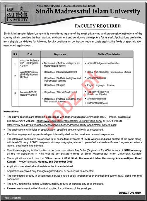 Sindh Madressatul Islam University SMIU Faculty Jobs via NTS