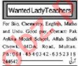 Teaching Staff Jobs Open in Multan