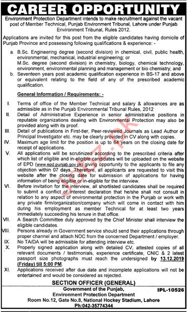Environment Protection Department Job For Member Technical