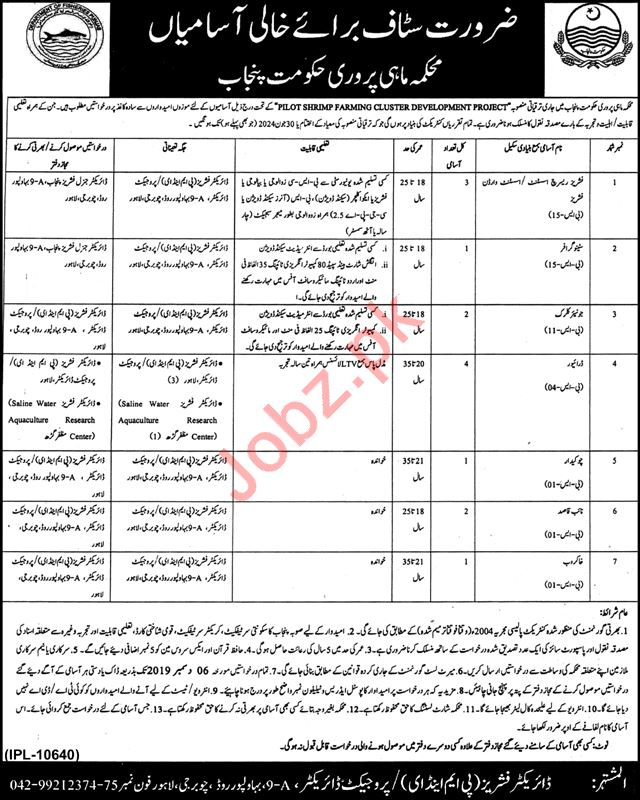 Fisheries Department Jobs 2019 in Lahore