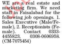 Real Estate & Marketing Firm Jobs 2019 in Lahore