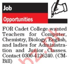 Pakistan Army Cadet College Jobs For Teaching Staff