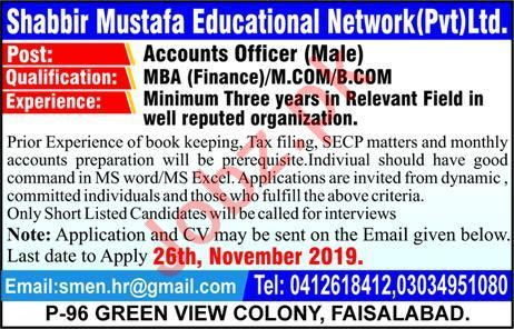 Shabbir Mustafa Educational Network Pvt Ltd Job 2019