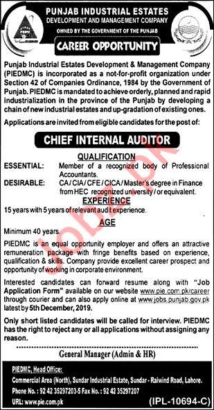 Punjab Industrial Estate Development & Management Co Jobs