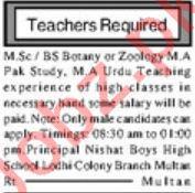 Teaching Staff Jobs For Nishat Boys High School