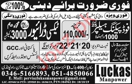 Food Packing Helper & Taxi Driver Jobs in Dubai UAE