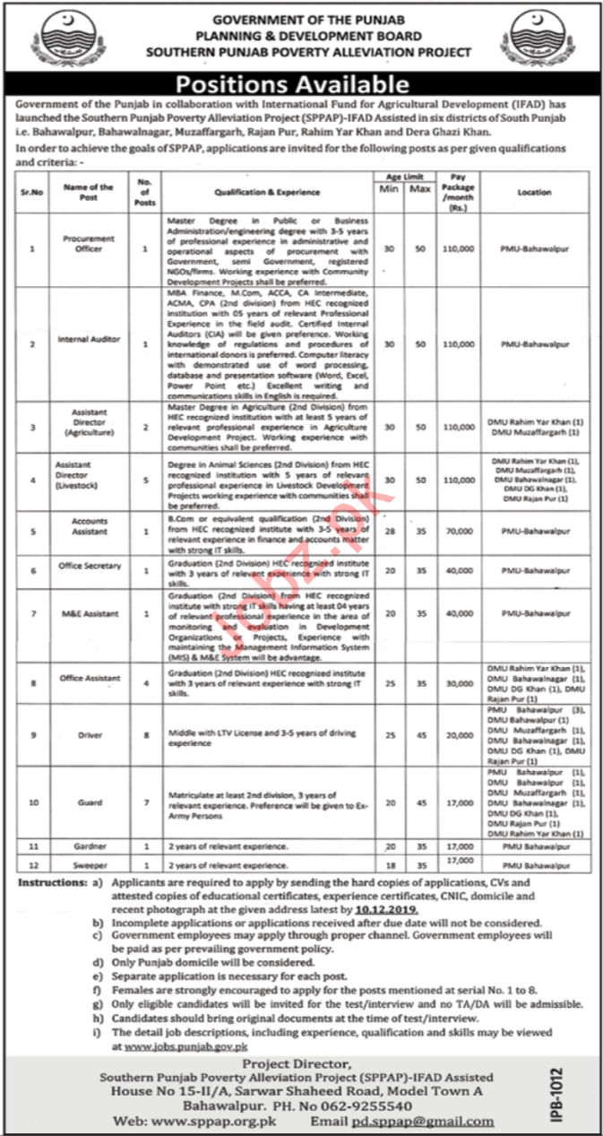 Southern Punjab Poverty Alleviation Project Jobs 2019