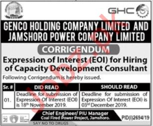 Genco Holding Company Limited Job For Consultant in Jamshoro