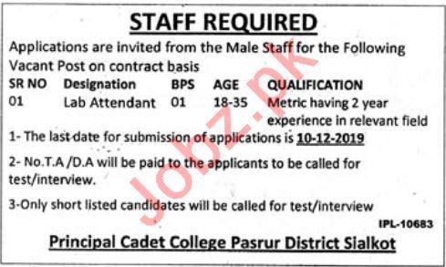 Cadet College Pasrur Jobs 2019 for Lab Attendant