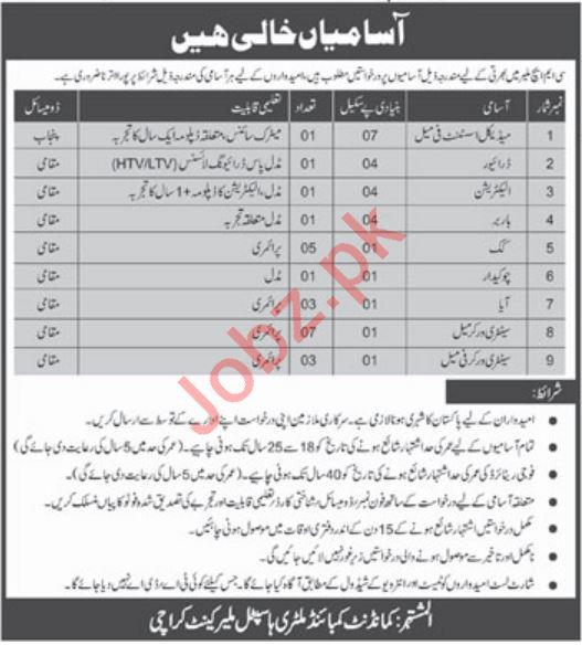 CMH Hospital Malir Cantt Karachi Jobs 2019