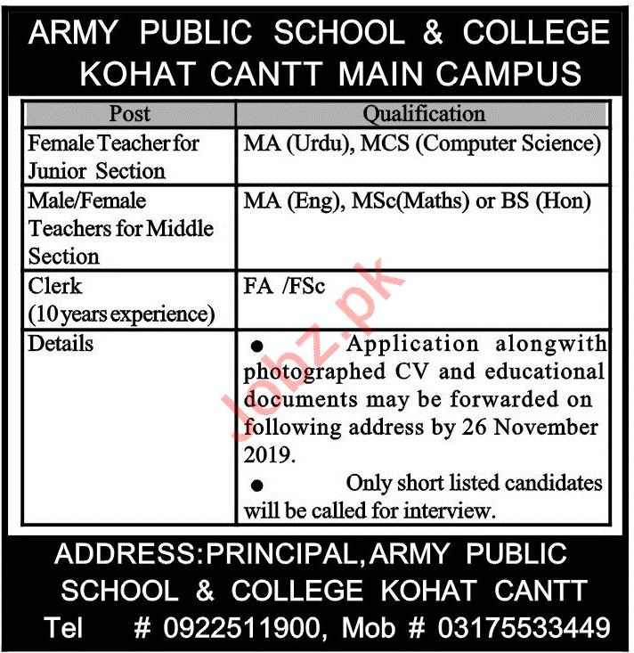 Army Public School & College APS&C Kohat Cantt Jobs 2019
