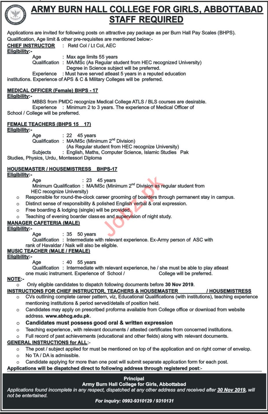 Army Burn Hall College for Girls Abbottabad Jobs 2019