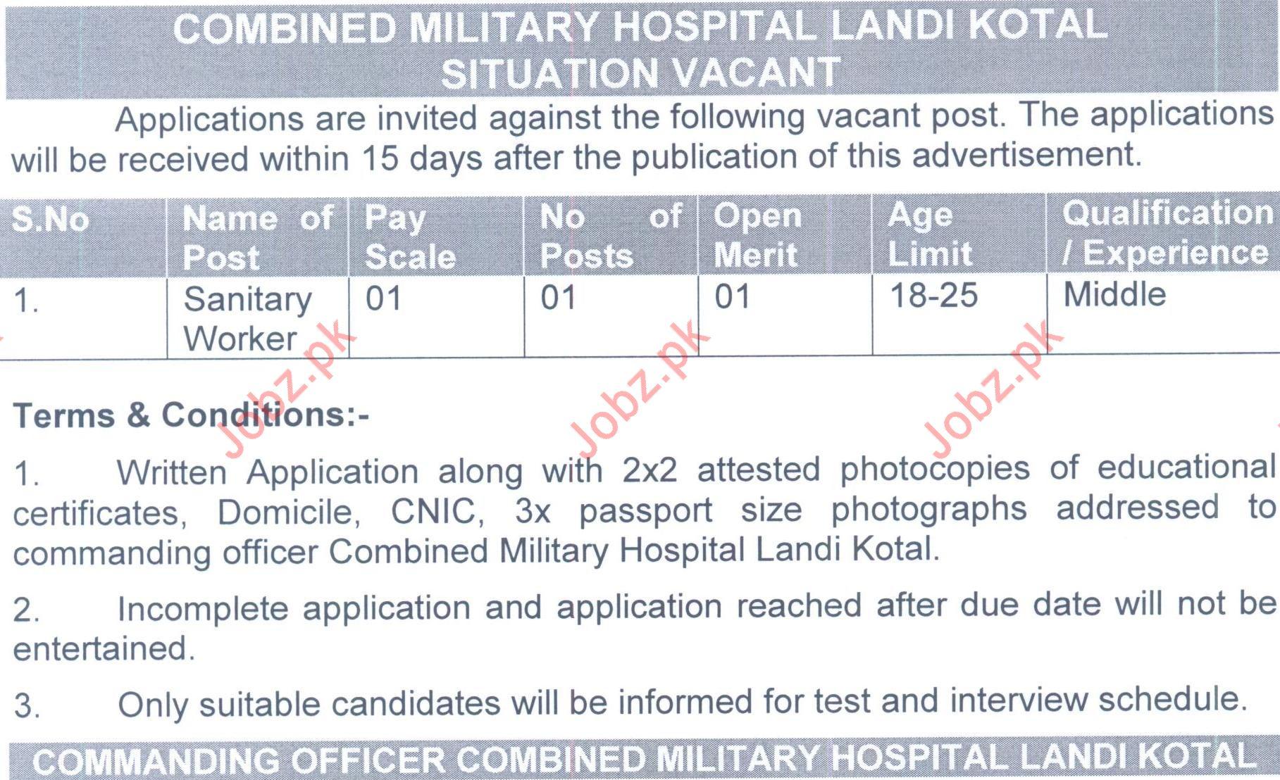 CMH Hospital Landi Kotal Jobs 2019 for Sanitary Worker
