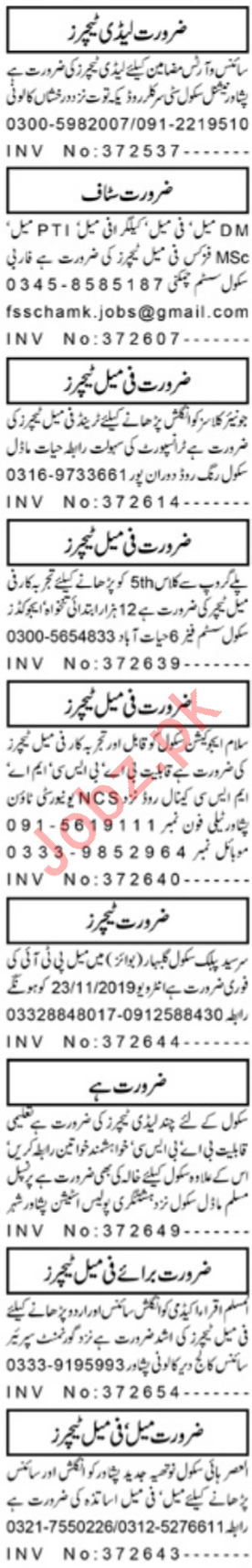 Daily Aaj Newspaper Classified Teaching Jobs 2019