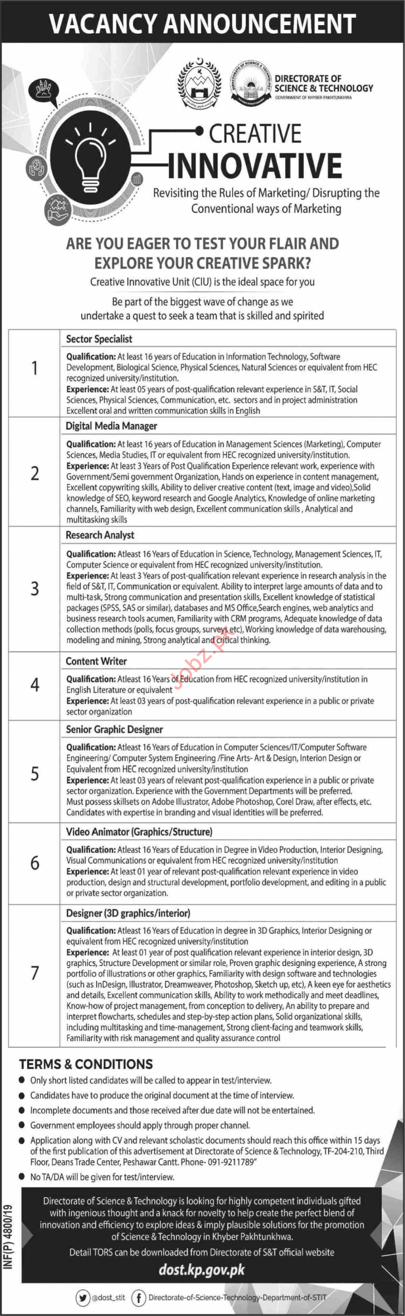 Directorate of Science & Technology DOST Jobs 2019