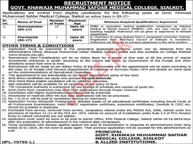 Govt Khawaja Muhammad Safdar Medical College Sialkot Jobs