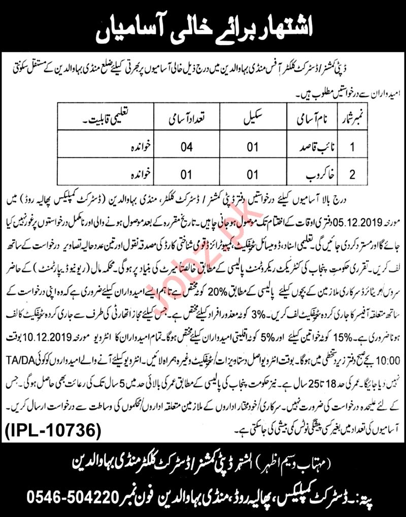District Commissioner Office Mandi Bahauddin Jobs 2019