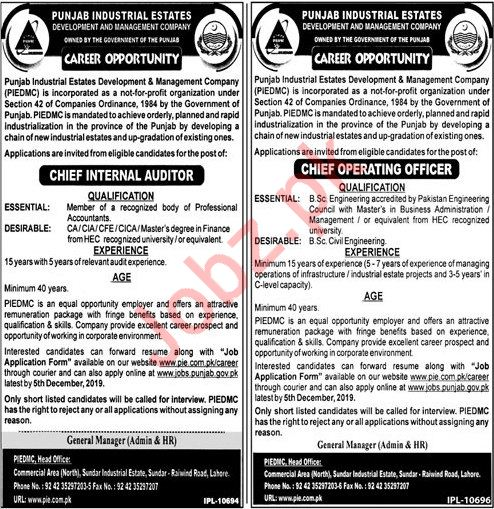 Punjab Industrial Estates PIEDMC Lahore Jobs 2019