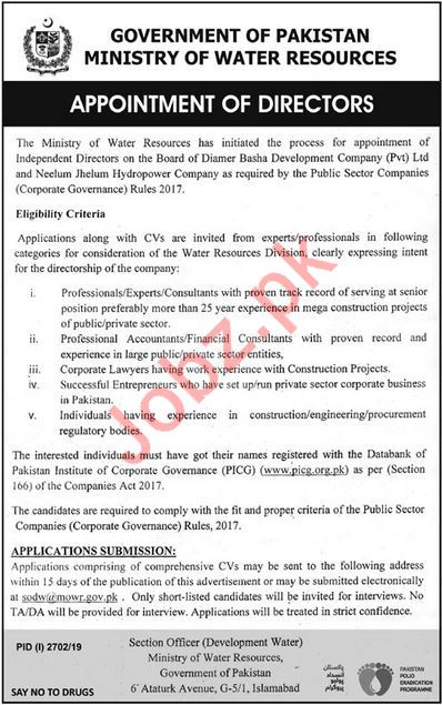 Ministry of Water Resources Jobs For Directors in Islamabad