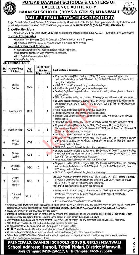 Daanish School Boys & Girls Mianwali Jobs 2019