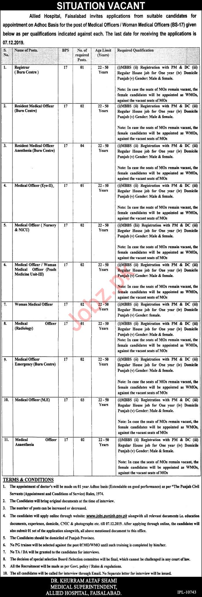 Allied Hospital Faisalabad Jobs 2019
