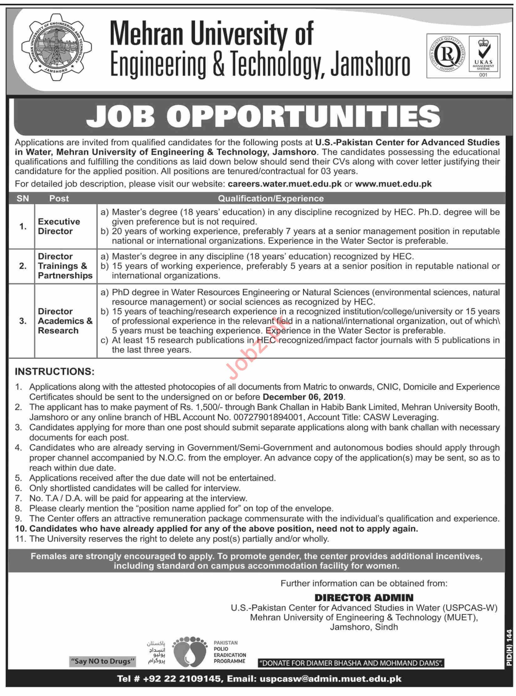 MUET University Jamshoro Jobs 2019 for Directors