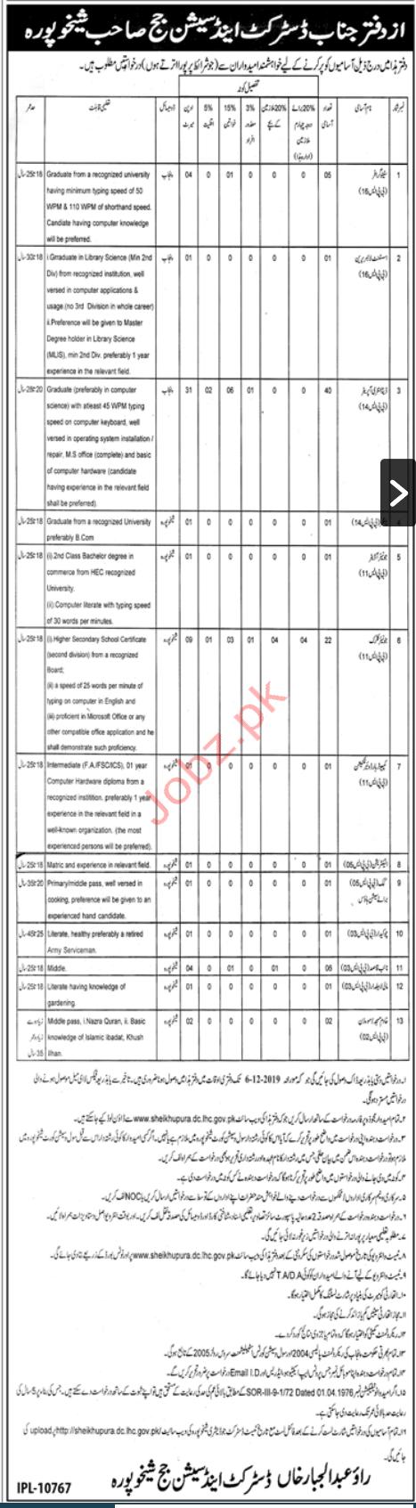 District & Session Court Sheikhupura Jobs 2019