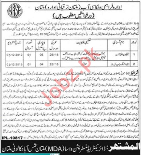 WASA Multan Development Authority MDA Jobs 2019