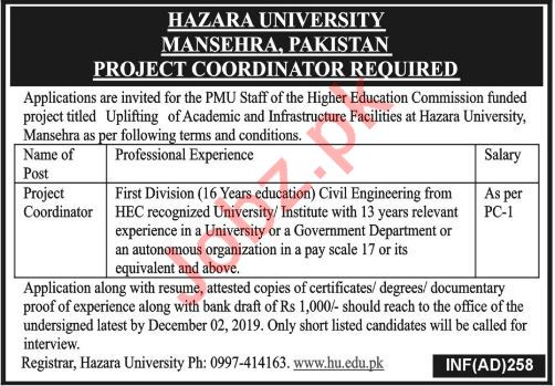 Hazara University HU Mansehra Jobs for Project Coordinator