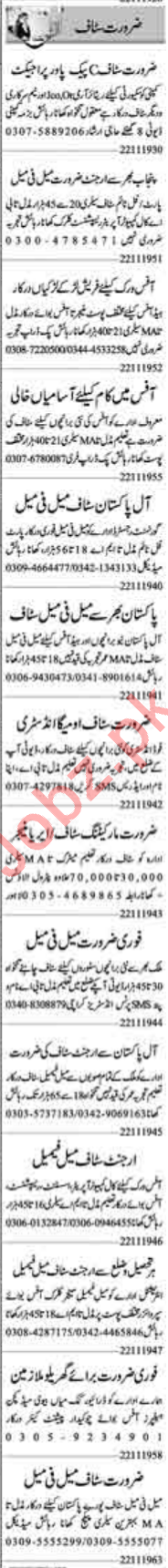 Male & Female Jobs 2019 in Lahore
