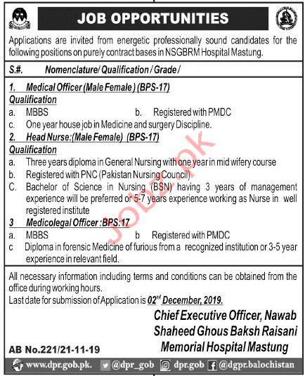 Nawab Shaheed Ghous Bakhsh Raisani Memorial Hospital Jobs