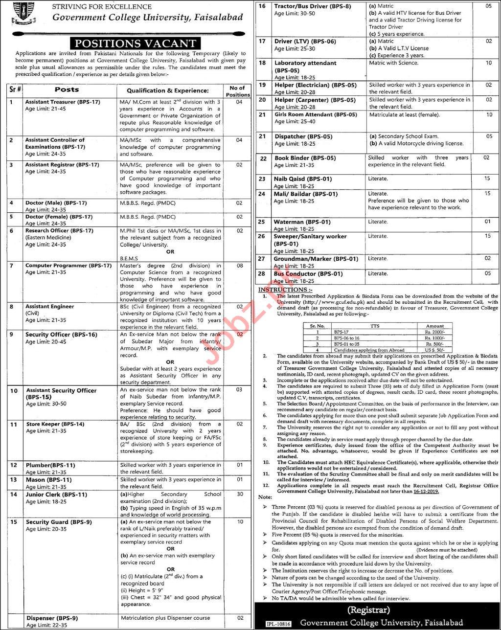 Government College University Faisalabad GCUF Jobs 2019
