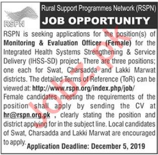 Rural Support Programmes Network RSPN NGO Jobs 2019