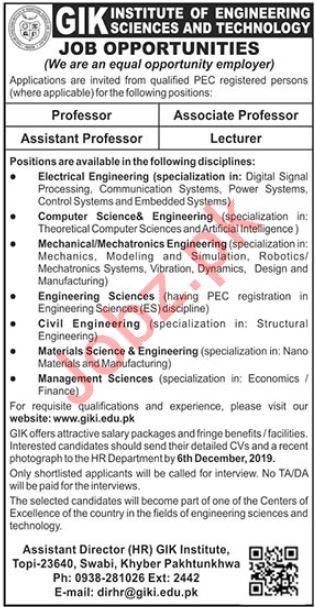 GIK Institute of Engineering Sciences & Technology Jobs 2019