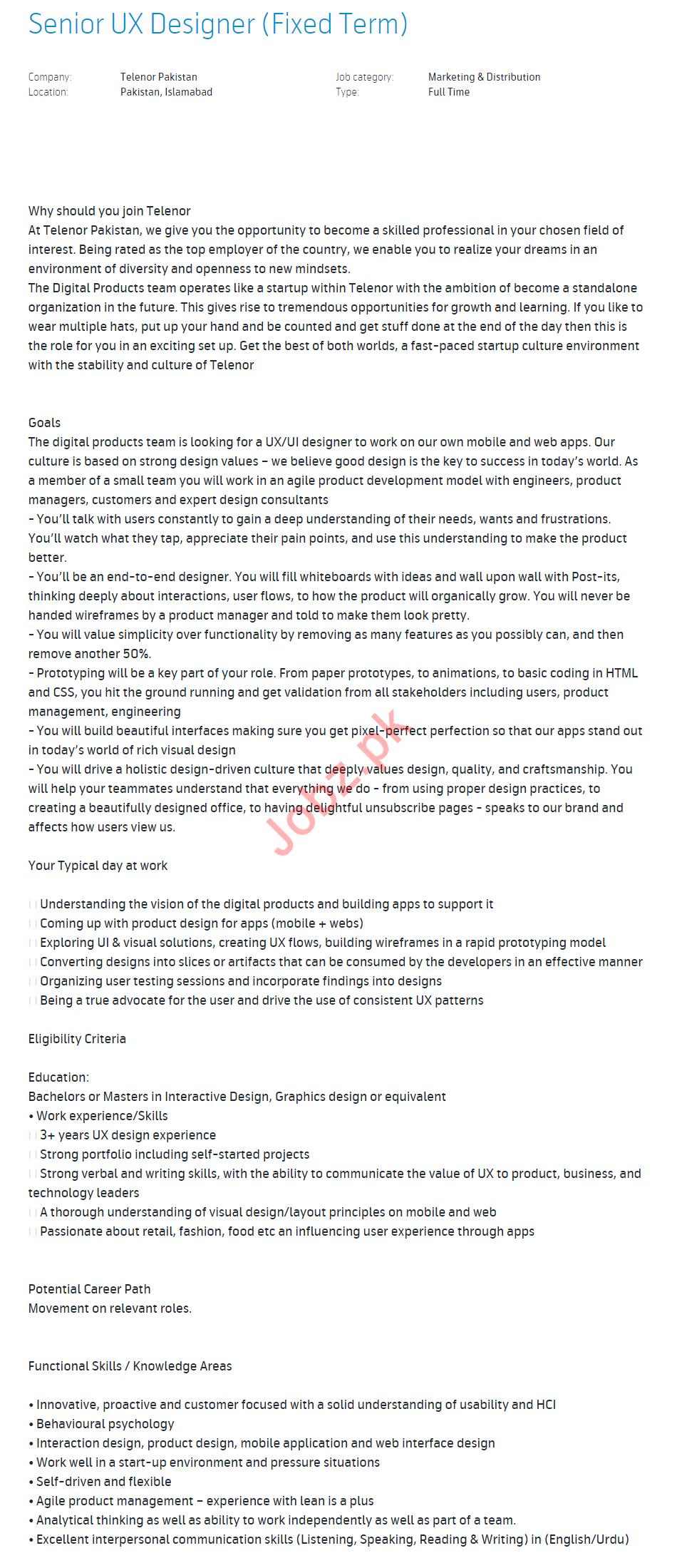 Senior Ux Designer Job 2019 In Islamabad 2020 Job Advertisement Pakistan