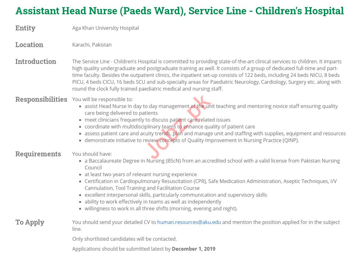 Head Nurse & Assistant Head Nurse Jobs For Children Hospital