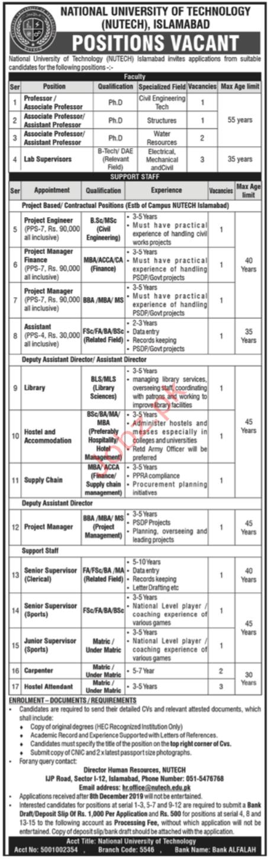 National University of Technology NUTECH Islamabad Jobs 2019