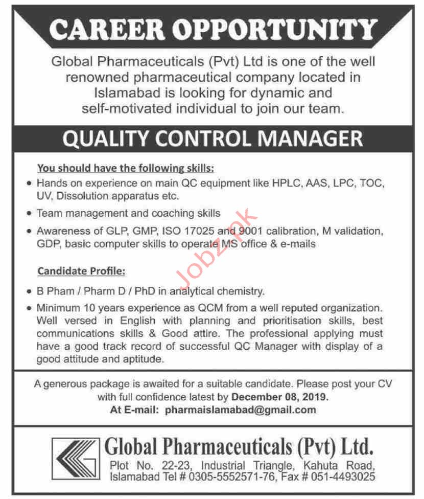 Global Pharmaceuticals Pvt Ltd Jobs in Islamabad